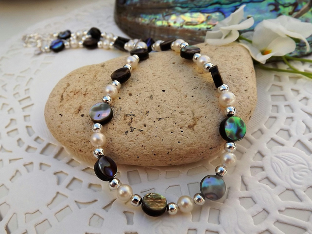 Abalone and Pearl Beaded Necklace