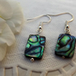 Abalone Rectangle Earrings silver plated. Drop Earrings