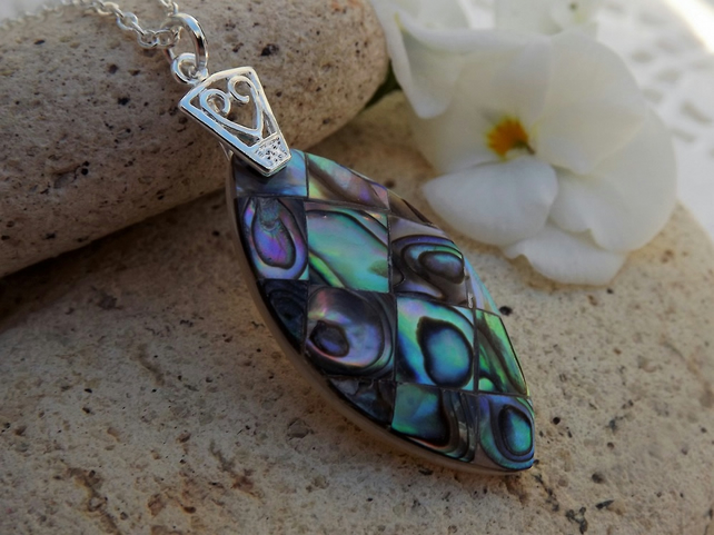 Abalone Marquise Shaped Mosaic Pendant.  Silver Plate