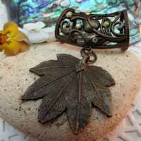 Scarf Jewellery. maple leaf. Scarf Slider ring.