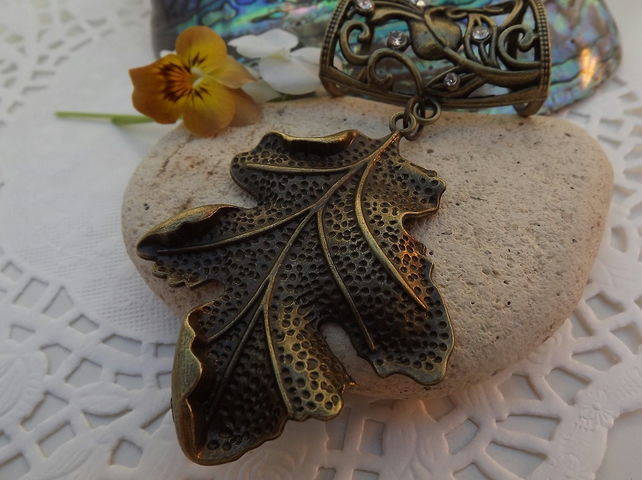 Scarf Jewellery. Autumn Leaf. Scarf Slider ring.
