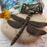 Scarf Jewellery. Dragon Fly. Scarf Slider ring. Bronze Tone
