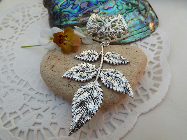 Scarf Jewellery. Leaf. Scarf Slider ring. Silver Tone