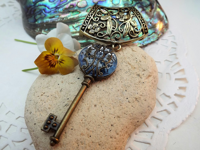 Scarf Jewellery. Blue Acrylic Key. Scarf Slider ring. Bronze tone