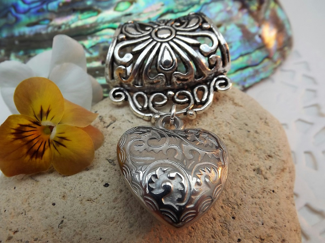 Scarf Jewellery. Puffy Heart. Scarf Slider ring. Silver tone