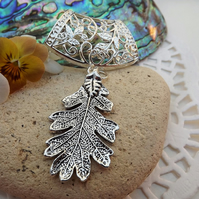 Scarf Jewellery. Oak Leaf. Scarf Slider ring. Silver Tone