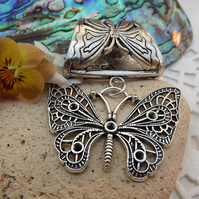 Scarf Jewellery. Butterfly. Scarf Slider ring. Silver Tone