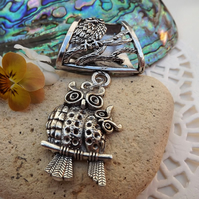 Scarf Jewellery. Owl. Scarf Slider ring. Silver Tone