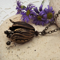 Tulip Charm Necklace in Antique Brass (Style 11)