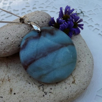 Green Blue Amazonite or Hope Stone Circle Pendant (47)