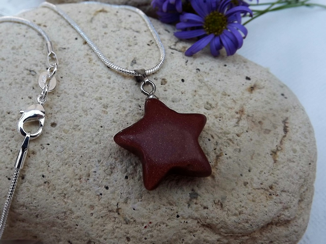 Goldstone Star Shaped Gemstone Pendant. Brown Glass Pendant (Style 36)