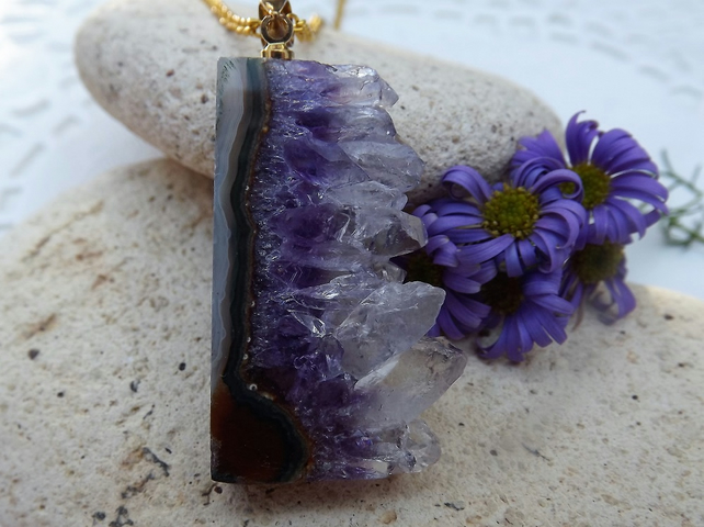 Raw Amethyst Necklace with Gold Plate Chain.  Amethyst Stalactite. (Style 16)