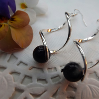 Twisted Spiral Silver plated Navy Blue Sandstone Beaded Drop Earrings