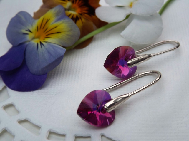 Swarovski Crystal 10mm Heart Drop Earrings. Fushia Pink Silver Heart Earrings