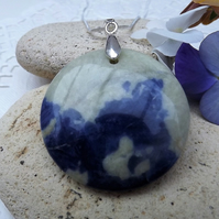 Blue and White Circular Sodalite Gemstone Pendant (style 11)