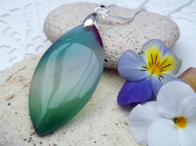 Marquise cut Green Stripped Agate Gemstone Pendant (Style 13)
