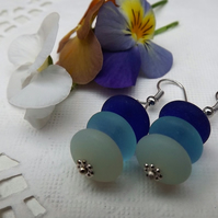 Seaglass Earrings in Shades of Blue Rondelles.  Silver Plated