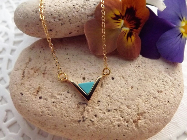 Blue Turquoise Gemstone Triangle Pendant Necklace. Gold Plate (style 46)