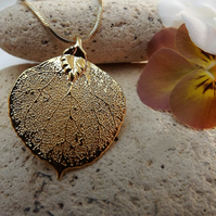 Real Leaf Jewellery 16K Gold Dipped Aspen Leaf Pendant
