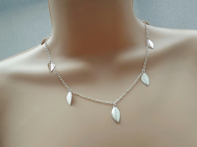 "Silver Leaf Necklace. 18"" Length."