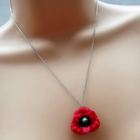 "Red Poppy Polymer Clay Necklace. 18"" Length Chain."