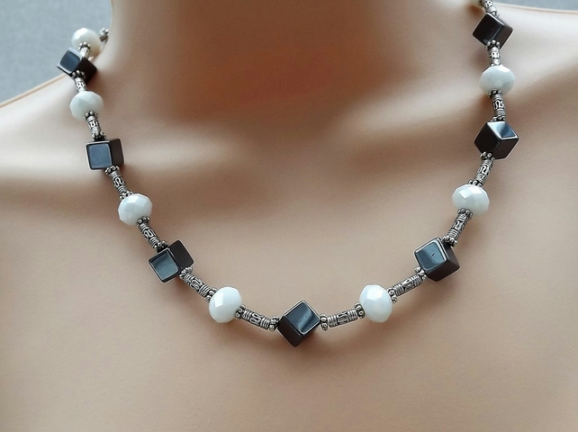 "18"" Black and White Hematite Heamatite and Crystal Silver Plated Beaded Necklace"