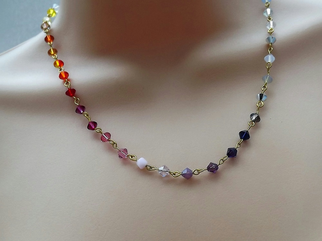 Rainbow Swarovski Crystal Necklace with Gold Plate Rosary Link Chain.