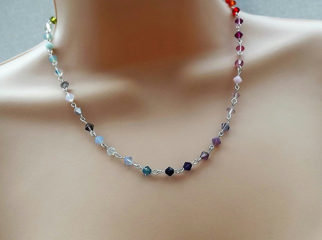 Rainbow Swarovski Necklace with Silver Plate Rosary Links.
