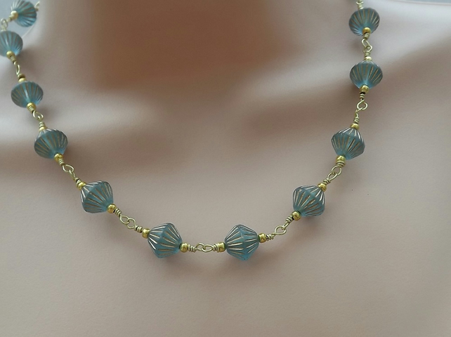 Aqua and Gold Plate Bicone Beaded Necklace. Rosary link Beaded Necklace.