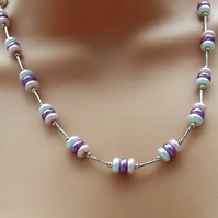 Pastel Beaded Necklace. Silver plate 18""