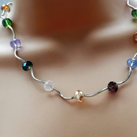 Rainbow Crystal Beaded Necklace. Silver Plate. 18""