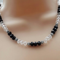 Black and Clear Crystal Beaded Necklace. Silver Plate.