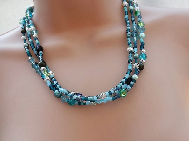 Turquoise Colour Three Strand Beaded Necklace