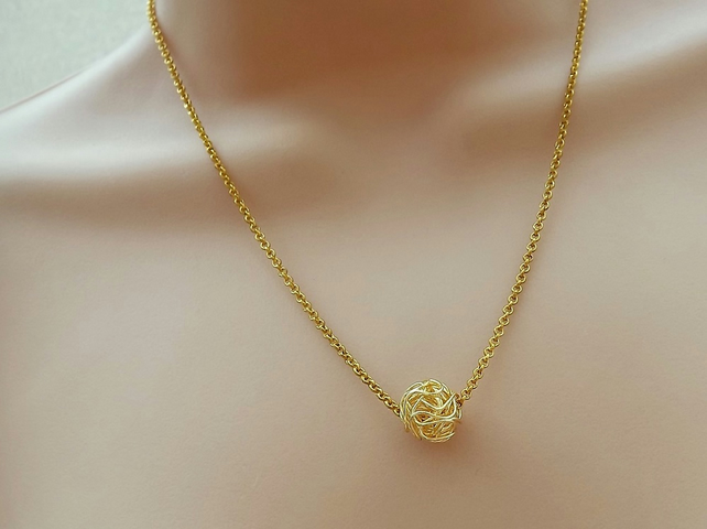 "Gold Plated Wire Wrapped Ball Necklace. 18"" Length."
