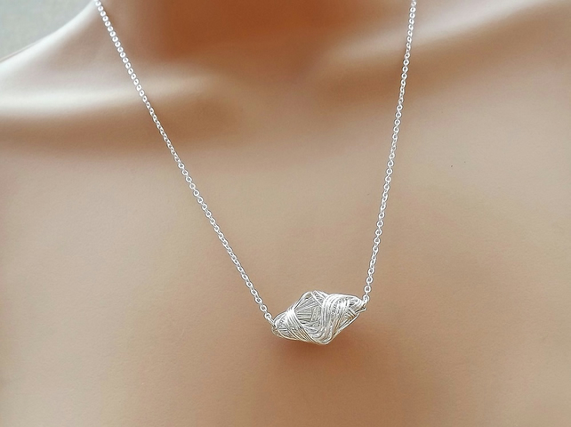 Silver Plated Wire Wrapped Octahedron Necklace.