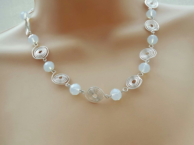 Silver Plate Spiral and Milky White Crystal Bead Necklace