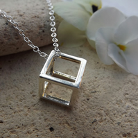 "Geometric 3D Cube Necklace. Silver Plate. 18"" Length"