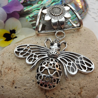 Scarf Jewellery. Honey Bee. Scarf Slider ring. Silver Tone