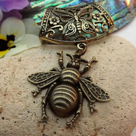 Scarf Jewellery. Honey Bee. Scarf Slider ring. Bronze Tone