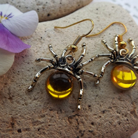 Amber Coloured Glass Gold Plated Spider Earrings.  Dangle Earrings.