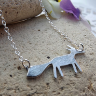 Silver Fox Pendant, Charm Necklace.  Fox Jewellery. Silver Plate (Style NP)