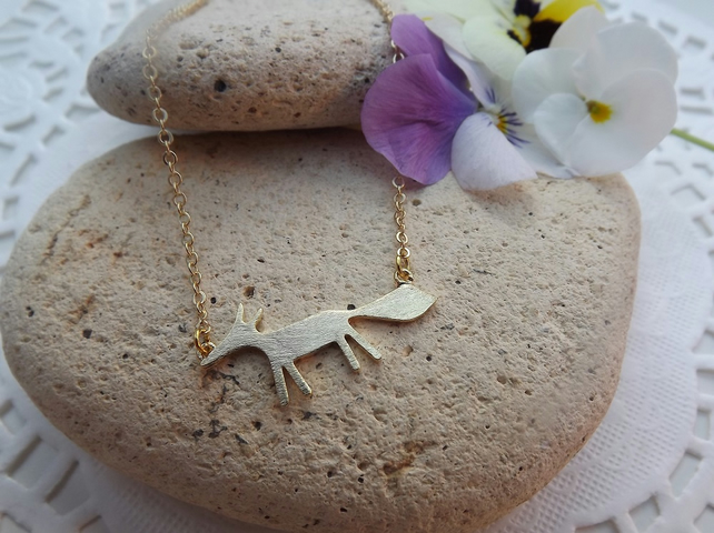 Gold Fox Pendant, Charm Necklace.  Fox Jewellery. Gold Plate (style NP)