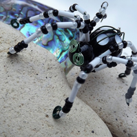 Beaded Spider.  Spider Jewellery.  Brooch.  Black and White Spots