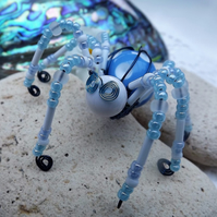 Beaded Spider. Spider Jewellery. Brooch. Blue and White Spots
