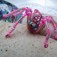 Beaded Spider. Spider Jewellery. Brooch. Pink