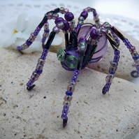 Beaded Spider. Spider Jewellery. Brooch. Purple.