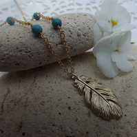 Golden Feather Charm Pendant with Turquoise Beaded Chain.  Gold Plate (Style NP)