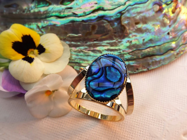 Blue Abalone Scarf Jewellery. Gold Plate. Scarf Ring.  Shell Scarf Accessory