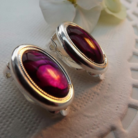 Pink Abalone Gemstone Clip on Earrings.  Silver Plate.