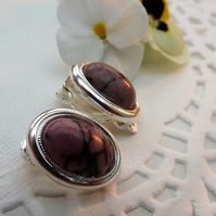 Pale Pink Rhodonite Gemstone Clip on Earrings. Silver Plate.